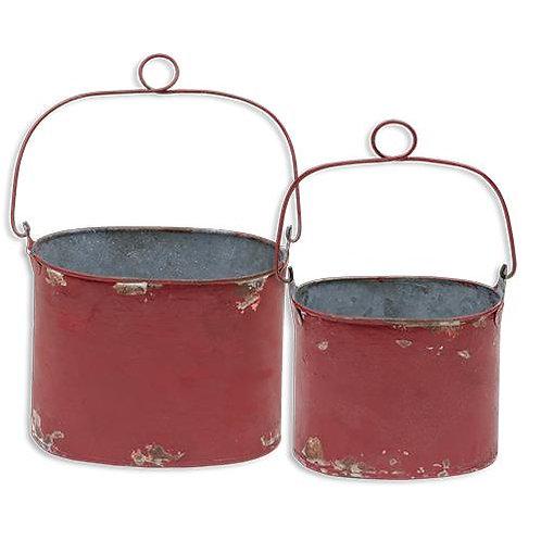 2/Set Vintage Red Buckets