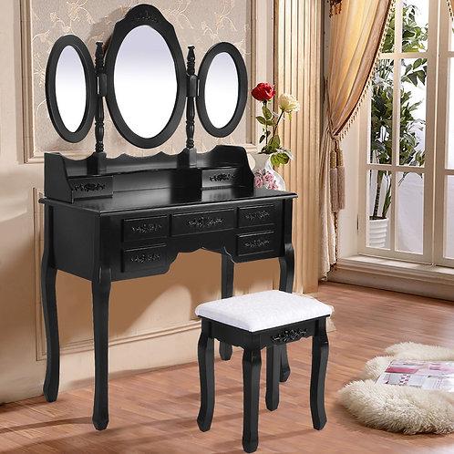 Black/White Vanity Makeup Dressing Table w/ Tri Folding Mirror + 7 Drawers-Black
