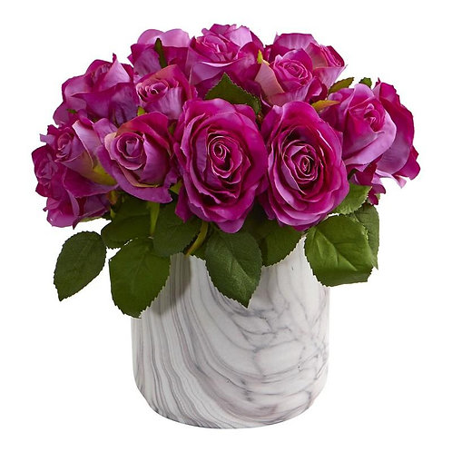 Rose Artificial Arrangement in Marble Finished Vase