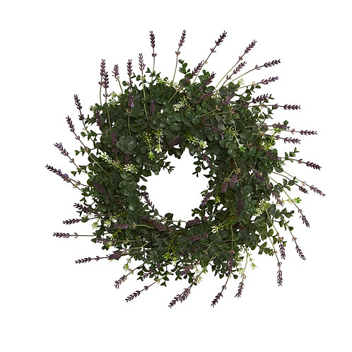 """18"""" Eucalyptus and Lavender Double Ring Artificial Wreath with Twig Base"""