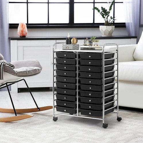 20 Drawers Storage Rolling Cart Studio Organizer-Black
