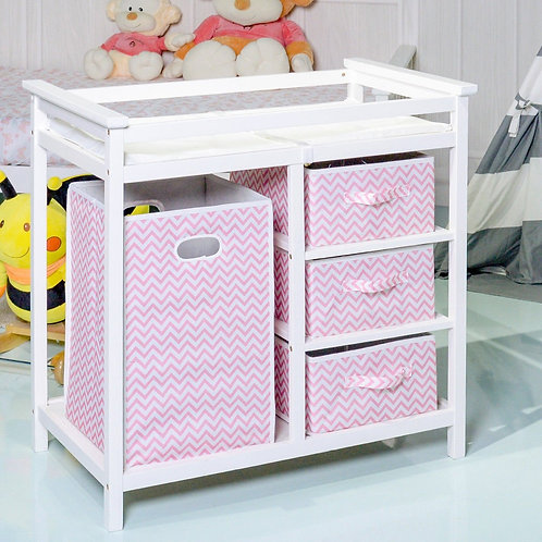 Infant Diaper Storage Changing Table with Hamper & 3 Basket -Pink
