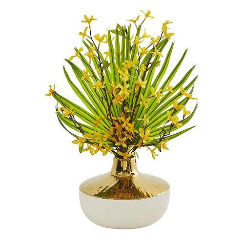 Forsythia and Fan Palm Artificial Arrangement