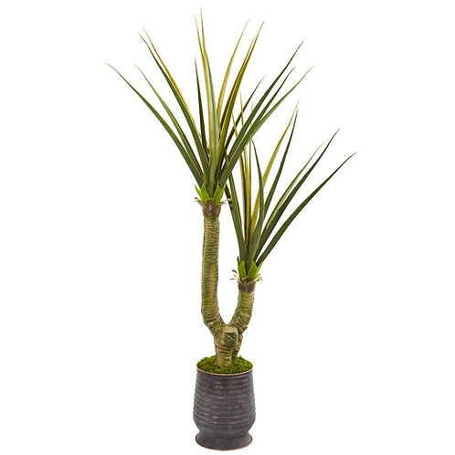 """69""""  Yucca Artificial Plant in Ribbed Metal Planter"""