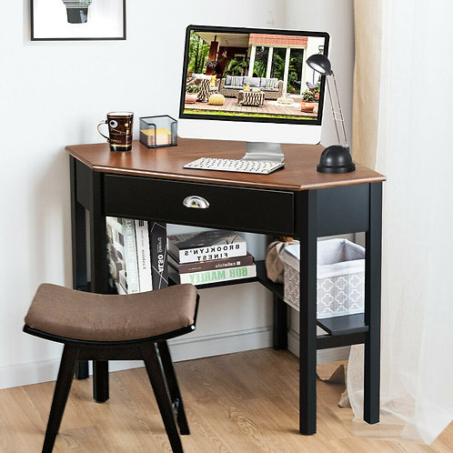 Corner Wooden PC Laptop Computer Desk-Coffee