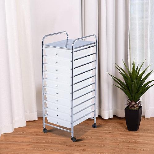 10 Drawer Rolling Storage Cart Organizer-Clear