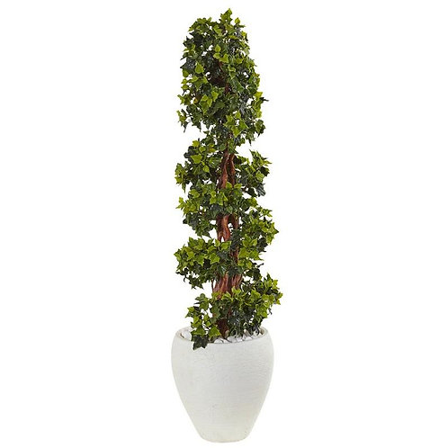 4' English Ivy Topiary Tree in White Oval Planter UV Resistant (Indoor/Outdoor)