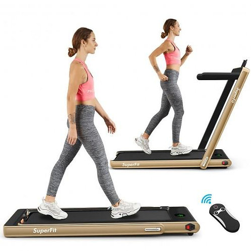 2-in-1 Folding Treadmill with Bluetooth Speaker LED Display-Yellow