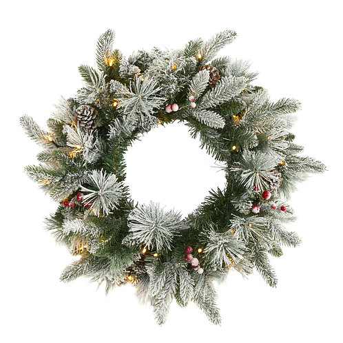 """20"""" Flocked Mixed Pine Artificial Christmas Wreath with 50 LED Lights"""