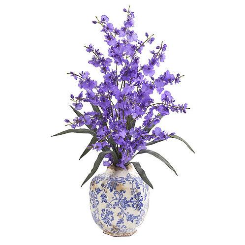 "28"" Dancing Lady Orchid Artificial Arrangement in Decorative Vase"