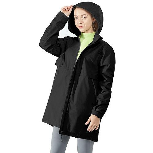 Hooded  Women's Wind & Waterproof Trench Rain Jacket-Black-XL