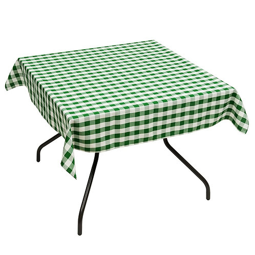 """10 Pcs 52"""" x 52"""" Square Polyester Plaid Dinner Tablecloth-Green"""