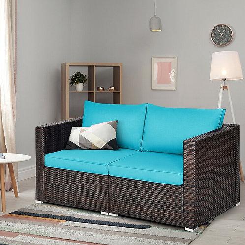 2PCS Patio Rattan Sectional Conversation Sofa Set-Blue