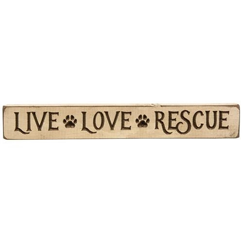 """Pack of 4 Live Love Rescue Engraved Block 12"""""""