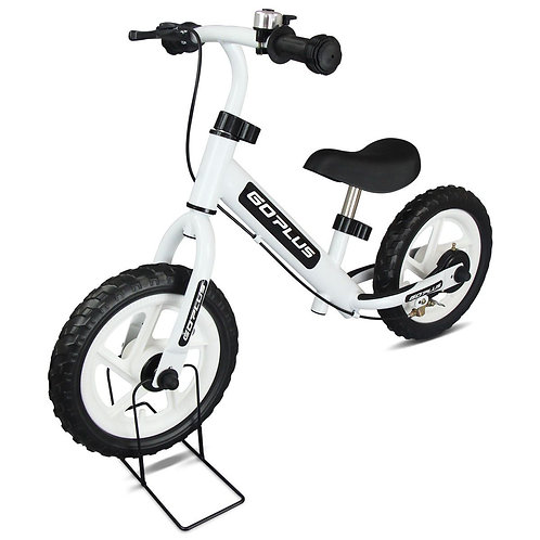 """12"""" Four Colors Kids Balance Bike Scooter with Brakes and Bell-White"""