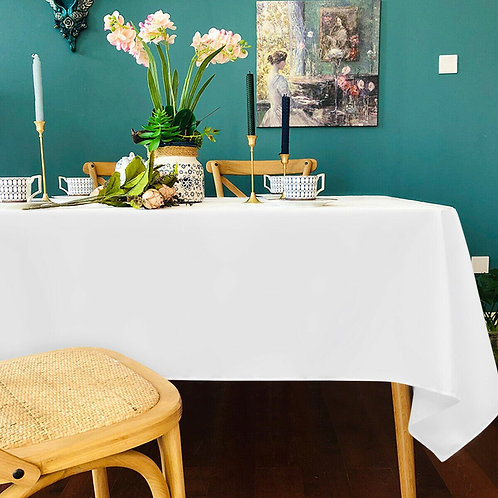 "10 pcs 60"" x 102"" Rectangle Polyester Tablecloth-White"