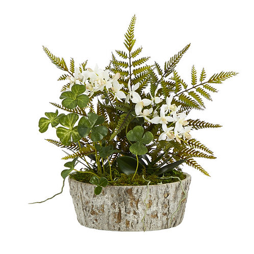 """13"""" Orchid Phalaenopsis, Clover and Fern Artificial Plant"""