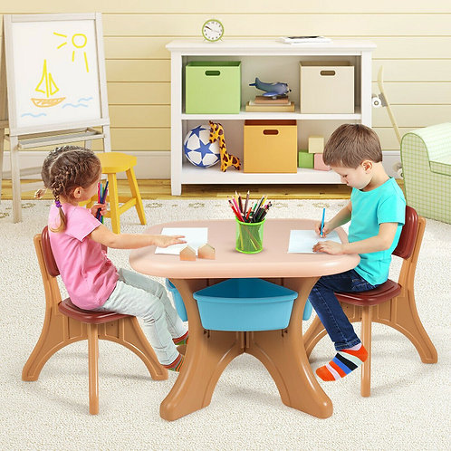 Children Kids Activity Table & Chair Set Play Furniture W/Storage-Coffee