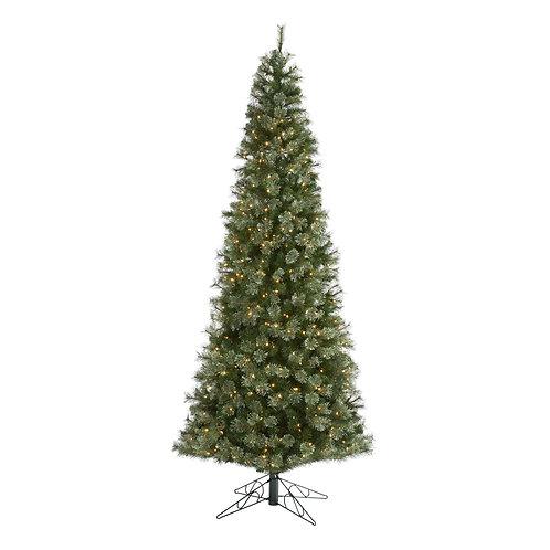 10' Cashmere Slim Artificial Christmas Tree w/750 Warm White Lights