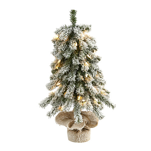 2' Flocked Alpine Christmas Artificial Tree w/ 35 Lights, 92 Bendable Branches