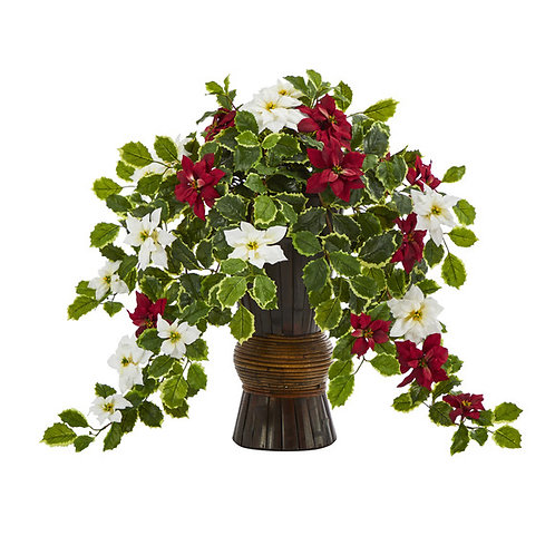 "22.5"" Poinsettia and Holly Artificial Plant in Decorative Planter (Real Touch)"