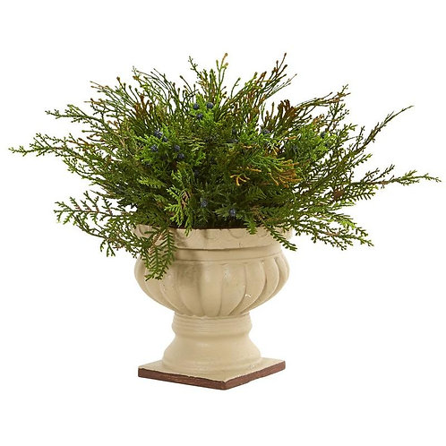 """15"""" Cedar and Blueberry Artificial Plant with Planter"""