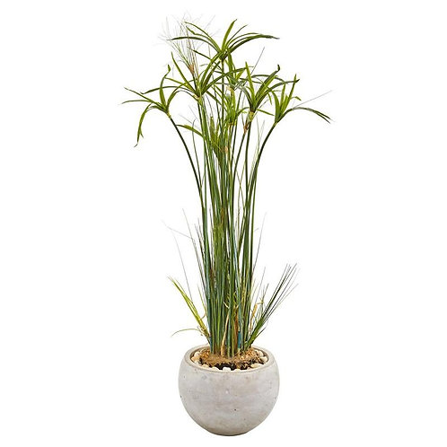 "45""  Papyrus Artificial Plant in Sand Colored Planter"