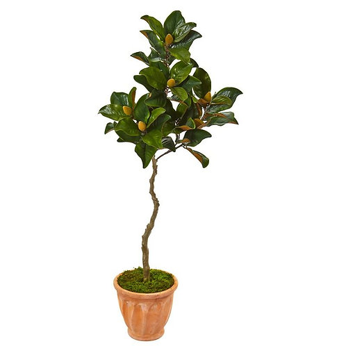 "56""  Magnolia Artificial Tree in Orange Planter"