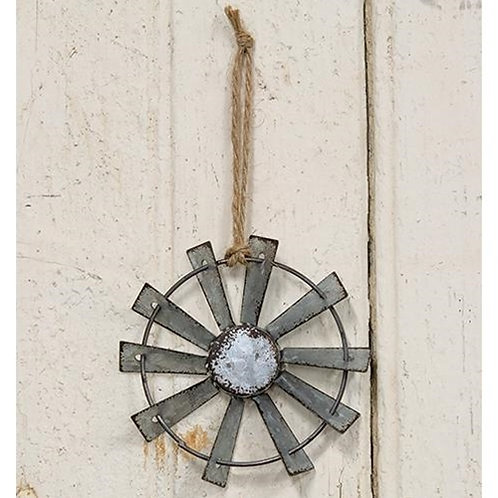 Metal Windmill Ornament with Jute Hanger 4 inch