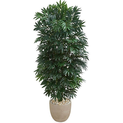 5' Double Bamboo Palm Artificial Plant in Sandstone Planter