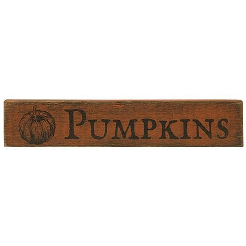 "Pack of 2 Pumpkins Sign Orange 3.5""x18"""