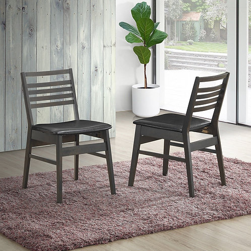 Set of 2 Armless PU Leather Dining Side Chairs-Black