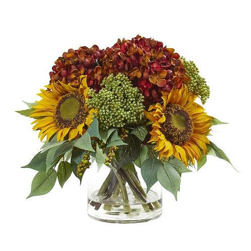 """11""""  Sunflower and Hydrangea Artificial Arrangement"""