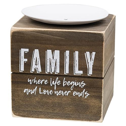 Pack of 2 *Family Where Life Begins Candle Block