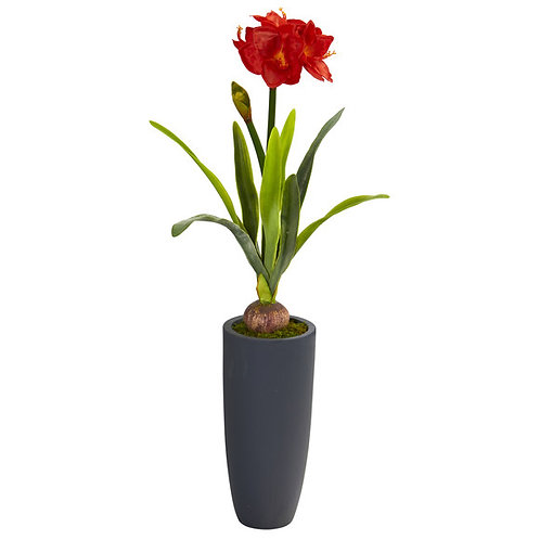 3.5' Amaryllis Artificial Plant in Gray Planter