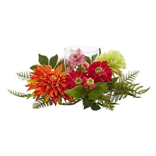 "17""  Mixed Floral & Dahlia Candelabrum"
