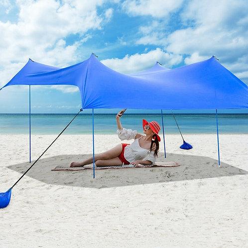 10� x 9� Family Beach Tent Canopy Sunshade w/ 4 Poles-Blue