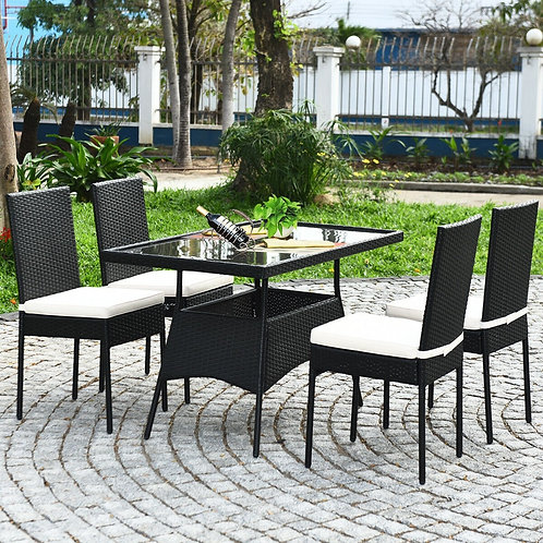 5 PCS Patio Rattan Dining Set with Glass Top