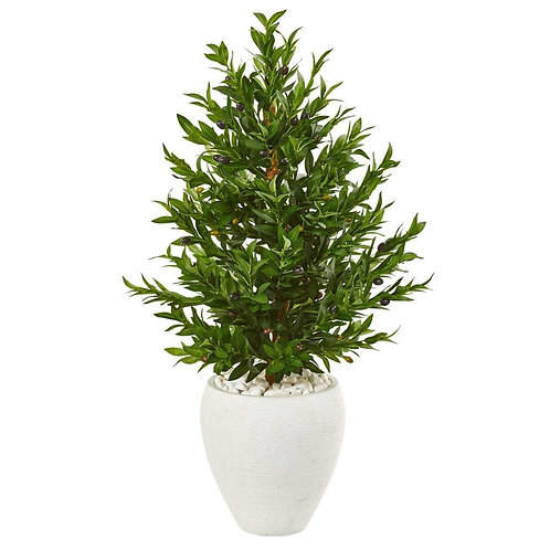 3.5' Olive Cone Topiary Artificial Tree in White Planter UV Resistant
