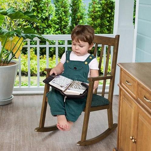 Children's Wooden Rocking Chair with Cushion-Walnut
