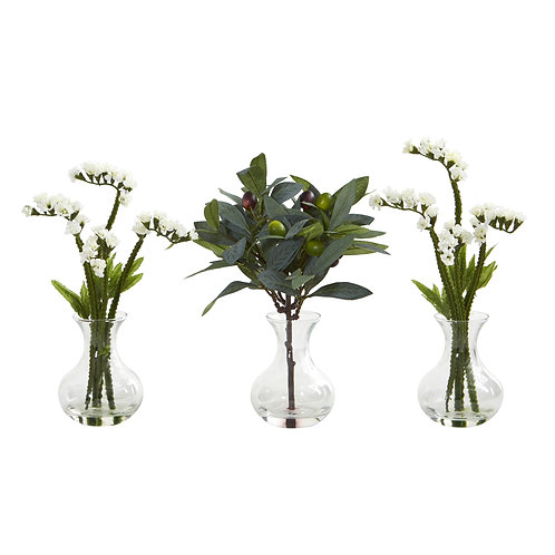 "10"" Baby Breath and Olive Artificial Arrangement in Vase (Set of 3)"