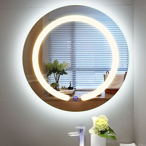 "20"" LED Touch Button Wall Mount Bathroom Round Mirror"