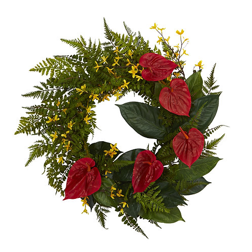 "24"" Mixed Fern, Anthurium and Forsythia Artificial Wreath"