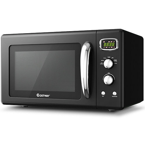0.9 Cu.ft Retro Countertop Compact Microwave Oven-Black