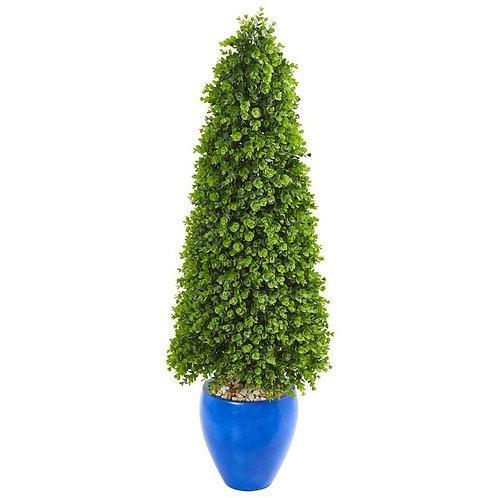 "52"" Eucalyptus Topiary Artificial Tree in Blue Planter"