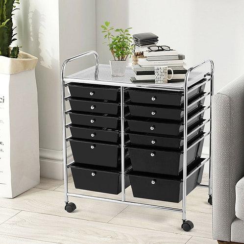 12 Drawers Rolling Cart Storage Scrapbook Paper Organizer Bins-Black