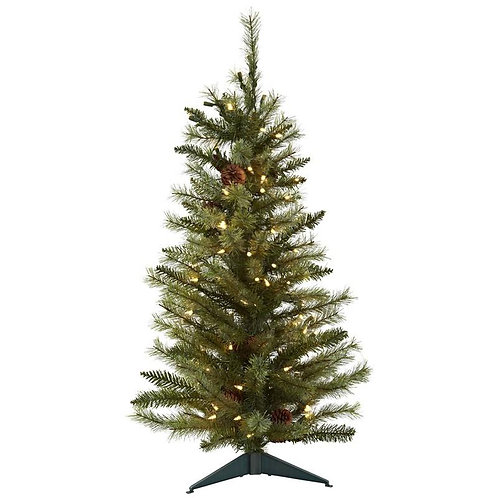 3' Christmas Tree w/Pine Cones & Clear Lights
