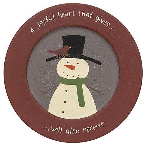 A Joyful Heart Snowman Plate