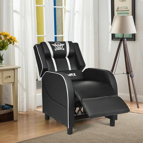 Massage Racing Gaming Single Recliner Chair-White