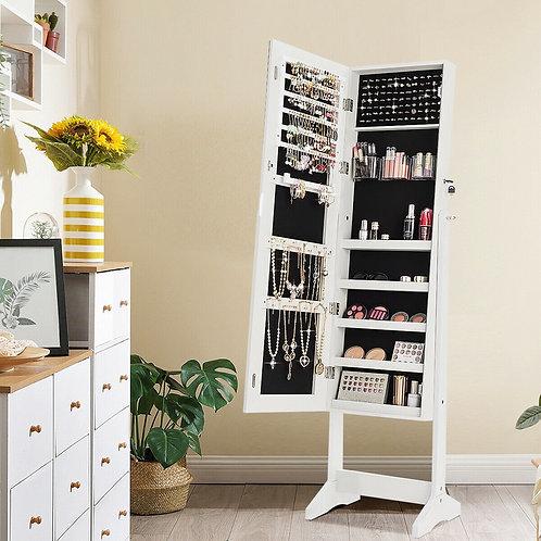 Jewelry Cabinet Armoire Lockable Standing Storage Organizer-White